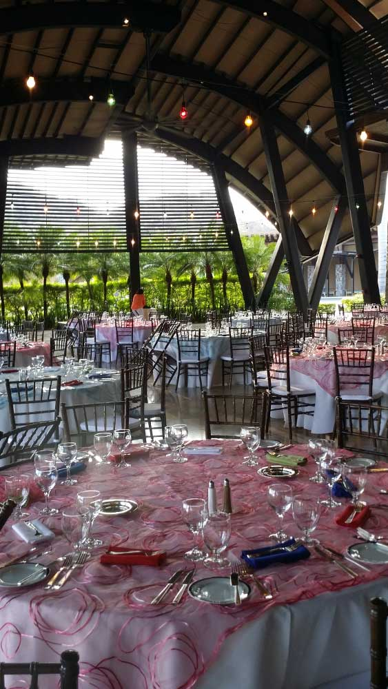 Pavilion table settings